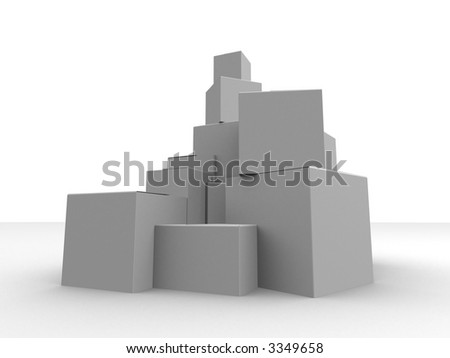 grey boxes - stock photo