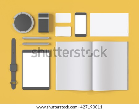 Grey branding mockup. Template set on yellow background. 3d rendering. 3D illustration. High resolution.