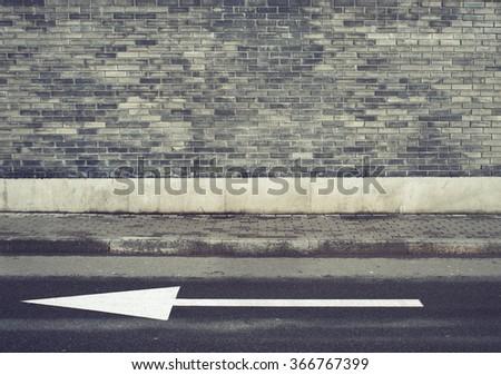 Grey brick wall texture background. Sidewalk. Vintage effect. - stock photo