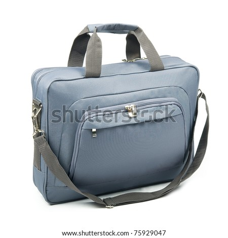 Grey briefcase on a white background. - stock photo
