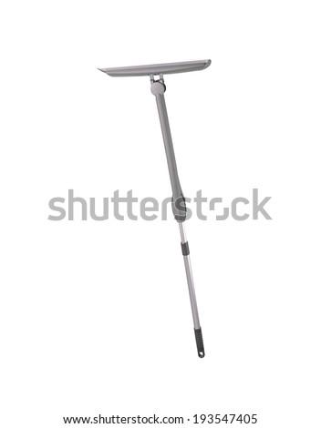 Grey broom isolated on white - stock photo