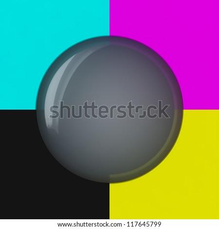 Grey bubble on the cmyk background - stock photo
