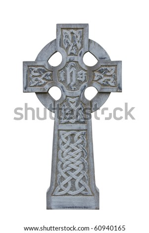 grey celtic cross isolated on white cemetery tombstone - stock photo