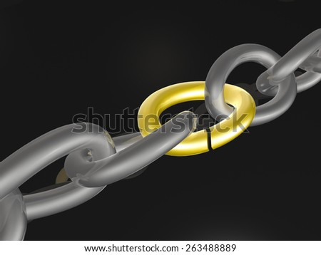 Grey chain with yellow link, black background. - stock photo