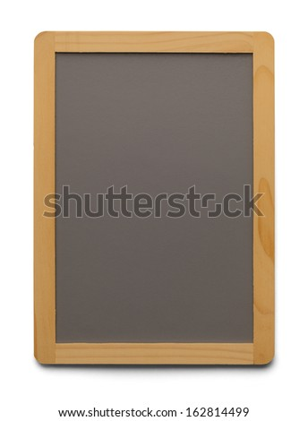 Grey Chalk Board With Copy Space Isolated on White Background. - stock photo