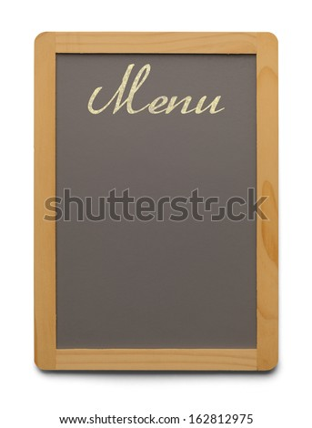 Grey Chalk Board With Wood Trim and Copy Space Isolated on White Background. - stock photo