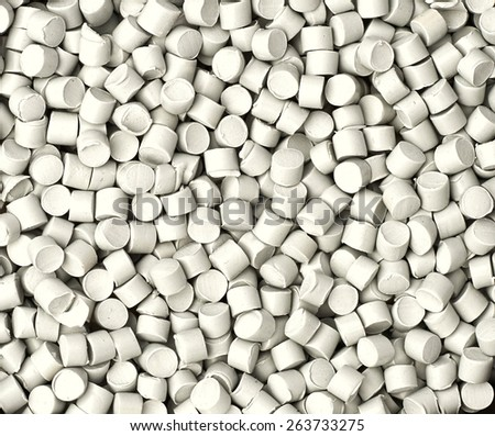 Grey chemical granules for industrial plastic production
