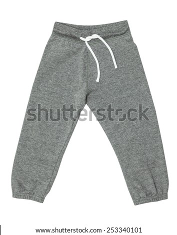 Grey children's sports trousers with ties isolated on the white - stock photo