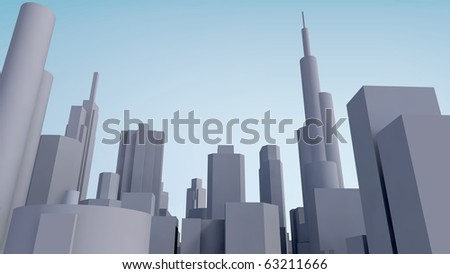 Grey city - stock photo