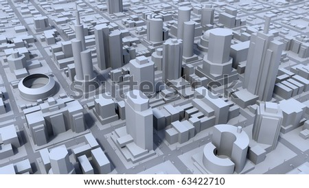 Grey city district concept - stock photo