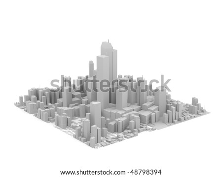 grey city model - stock photo