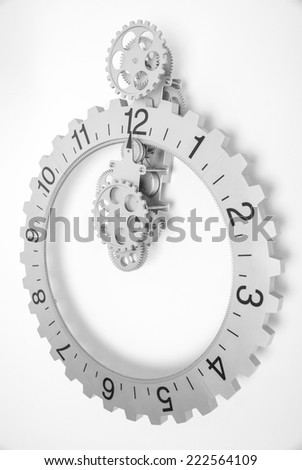 Grey clock with gears on white background - stock photo