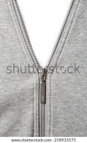 Grey cloth with metal zipper - stock photo