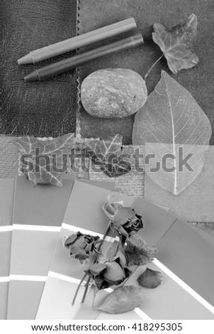 grey color harmonisation for interior - stock photo