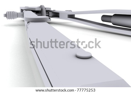 Grey compass. Isolated render on a white background - stock photo