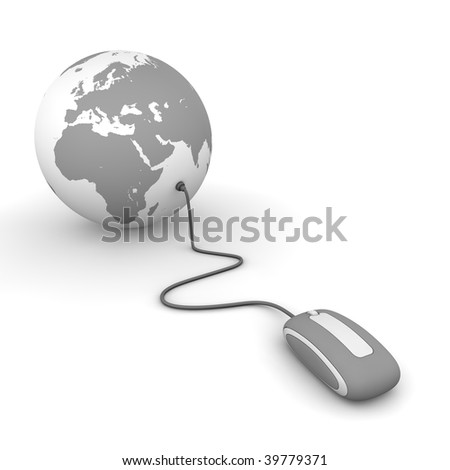 grey computer mouse connected to a grey globe - stock photo