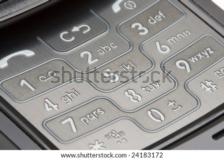 Grey Detailed Cell Phone Number Pad Macro - stock photo