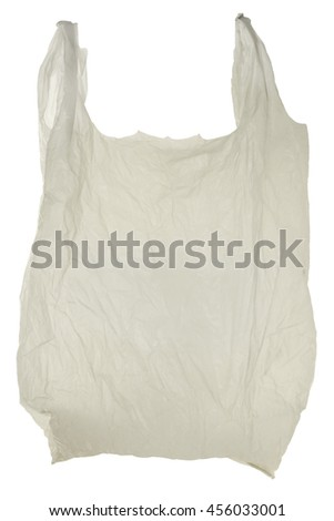 Grey disposable plastic garbage bag, isolated on white background.