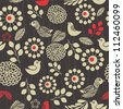 grey doodle floral seamless pattern - stock photo