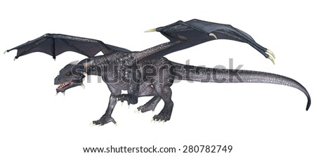 Grey Dragon - 3D rendered fantasy creature - stock photo