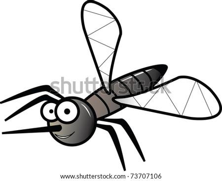 Grey dragonfly illustration on white - stock photo