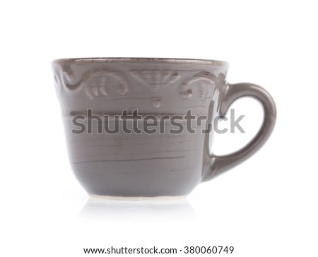 Grey Empty tea cup isolated on white background