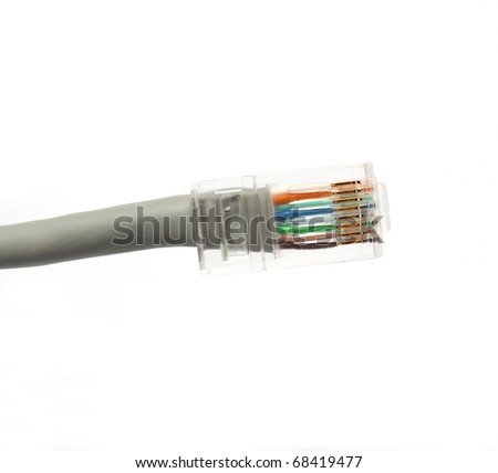 grey ethernet network RJ45 cable plug isolated on white background - stock photo