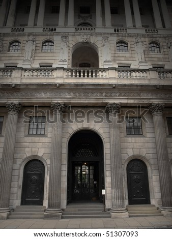 Grey Exterior of the Bank of England in London - stock photo