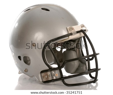 grey football helmet with reflection on white background - stock photo