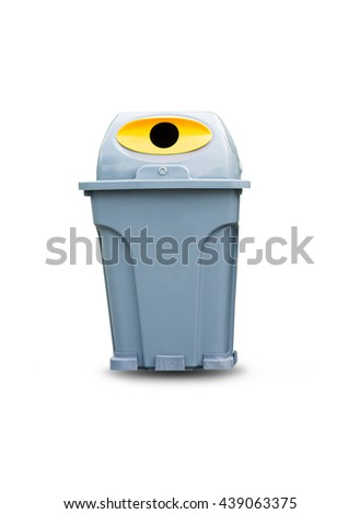 Grey garbage bin isolated on white background for your design.