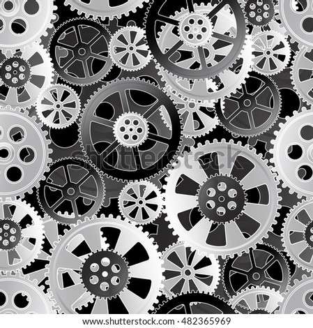 grey gears on a black background, seamless pattern  illustration