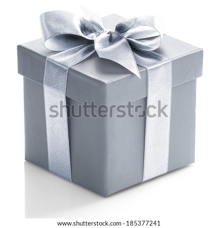 Grey gift box on white background.  - stock photo