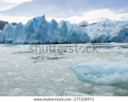 Grey Glacier, Grey Lake, Torres del Paine National Park, Patagonia, Chile - stock photo