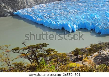 Grey glacier. Torres del Paine National park. Chile. - stock photo