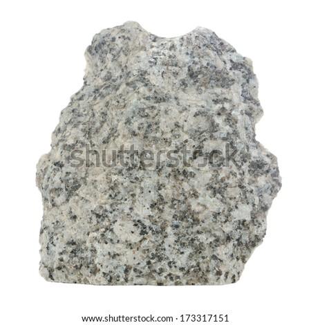 Grey Granite Stone Isolated on White Background - stock photo