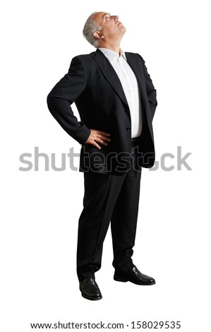 grey-haired businessman looking up. isolated on white background - stock photo