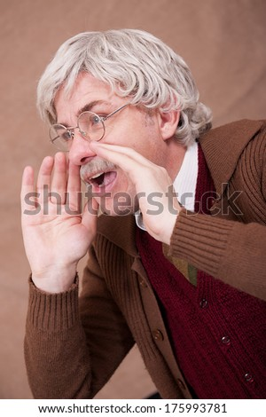 Grey Haired Old Man Shouting