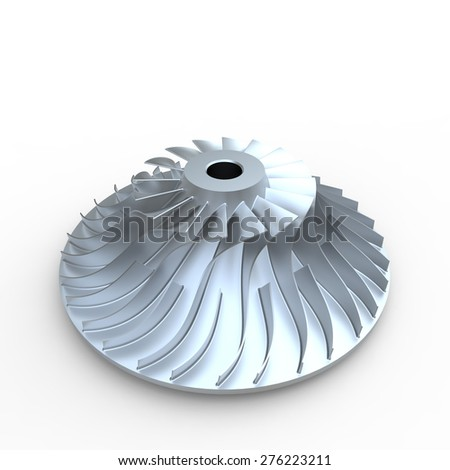 Grey impeller component part for turbo compressor on a white background - stock photo