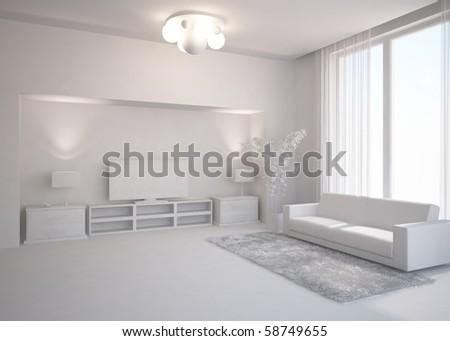 grey interior composition - stock photo