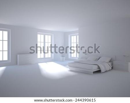grey interior concept-3D rendering - stock photo
