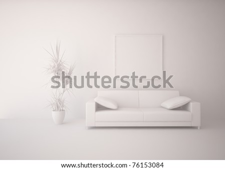 grey interior design - stock photo
