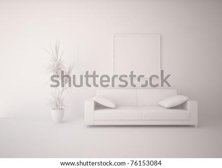 grey interior design - stock photo