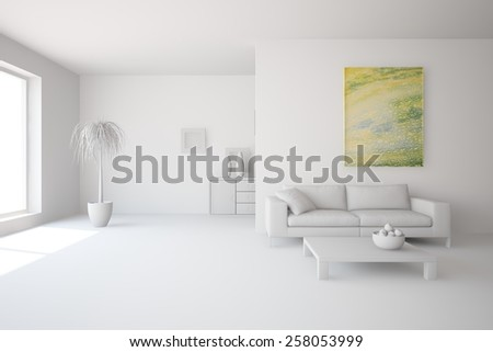 grey interior design-3D rendering