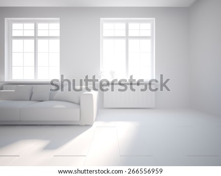 grey interior design-3D rendering - stock photo