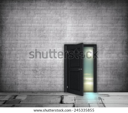 Grey interior with half-open door on the landscape - stock photo