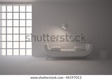 grey interior with lamp - stock photo