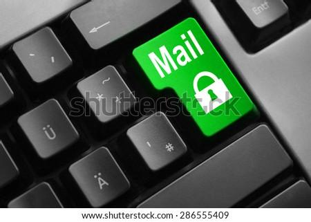 grey keyboard green enter button mail lock symbol - stock photo