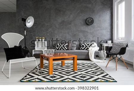 Grey Living Room With Sofa, Chairs, Standing Lamp, Small Wood Table And  Pattern Part 91
