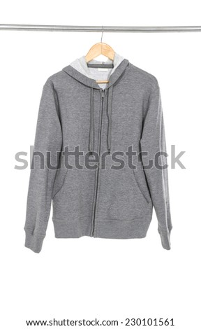 grey long shirts with wood hanger isolated white