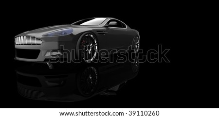 Grey luxury sports car / sportscar in studio isolated on black with reflection and copy space - stock photo